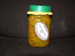 Photo of Zippy Zucchini Zucchini Relish in a jar.