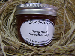 Photo of Cherry Bomb Firecracker Jelly in a jar.